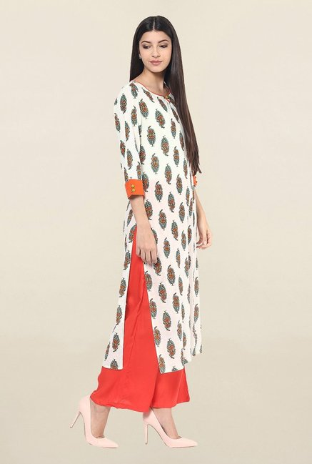 Jaipur Kurti Off White Printed Cotton Kurta