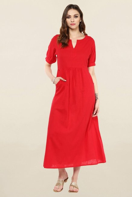 Jaipur Kurti Red Solid Cotton Kurta