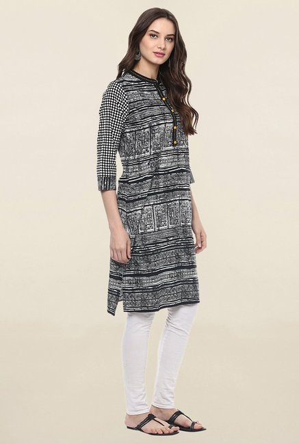 Jaipur Kurti Black & White Printed Cotton Kurta