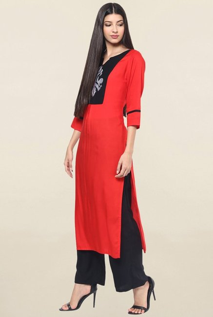 Jaipur Kurti Red Embroidered Rayon Kurta