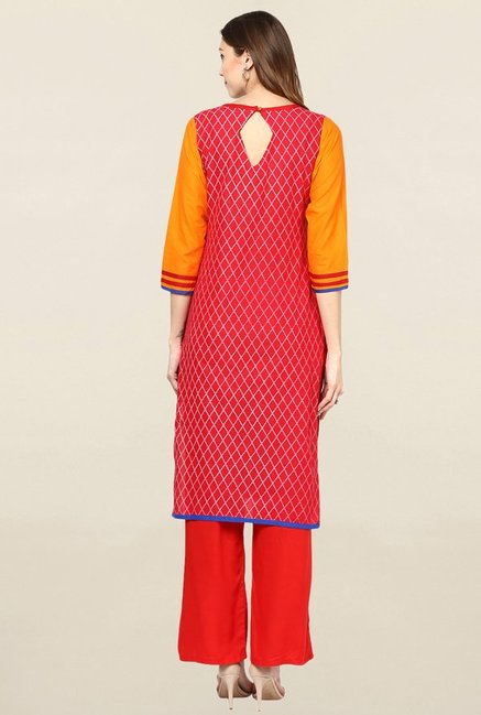 Jaipur Kurti Yellow & Red Printed Cotton Kurta