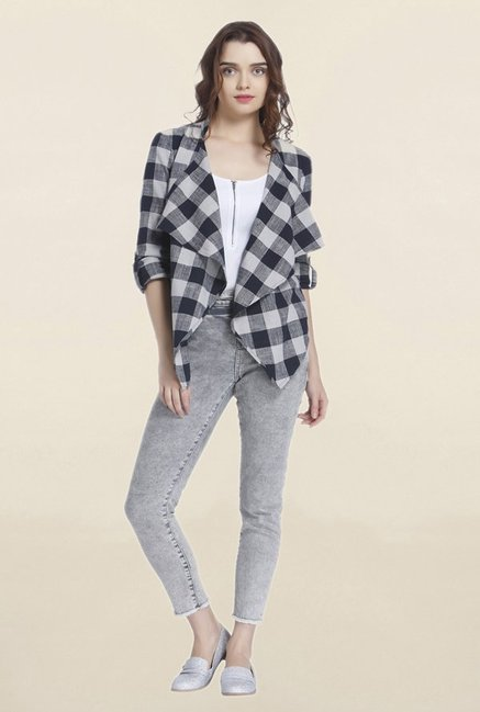 Vero Moda Navy Checks Cardigan