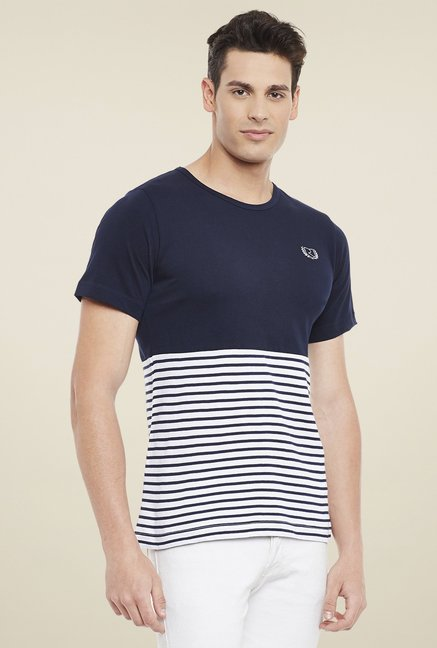 Rigo Navy & White Round Neck T-Shirt