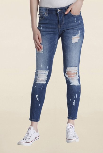 Only Blue Slim Fit Tattered Jeans