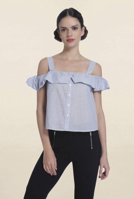 f943dc449d69a Buy Only Blue Striped Cold Shoulder Shirt for Women Online   Tata CLiQ
