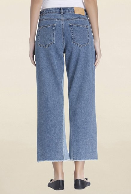 Only Blue Lightly Washed Mid Rise Crop Jeans