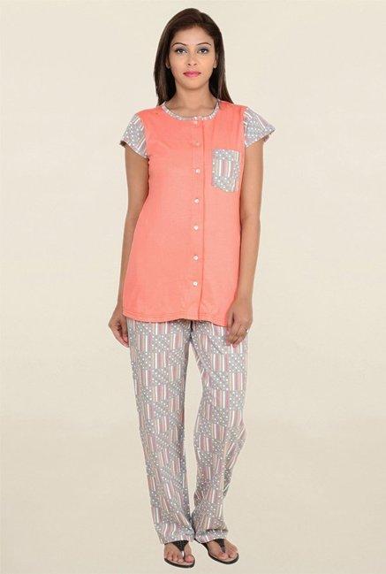 9teen again Peach Solid Pyjama Set