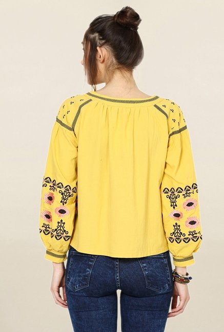 Loomtree Yellow Embroidered Shrug