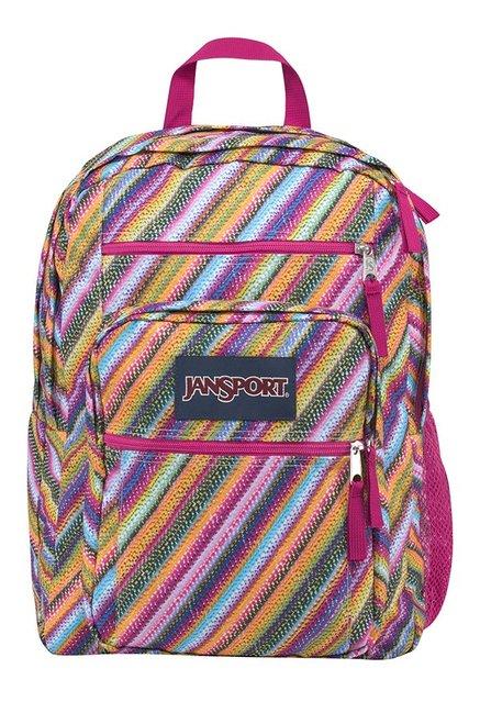 JanSport Big Student Orange & Blue Striped Backpack