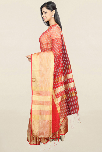 Pavecha's Red Striped Cotton Silk Saree With Blouse