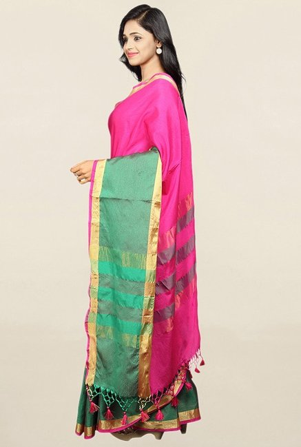 Pavecha's Pink Textured Cotton Silk Saree With Blouse