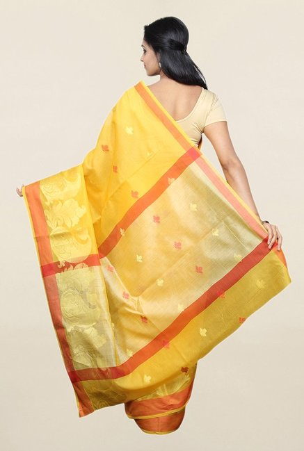 Pavecha's Yellow Printed Cotton Silk Saree With Blouse