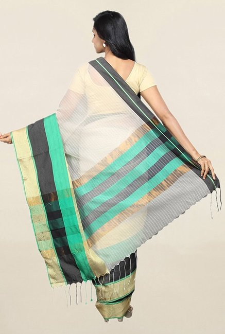 Pavecha's Beige Striped Cotton Silk Saree With Blouse