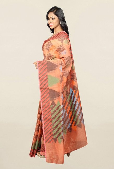 Pavecha's Orange Printed Cotton Silk Saree With Blouse