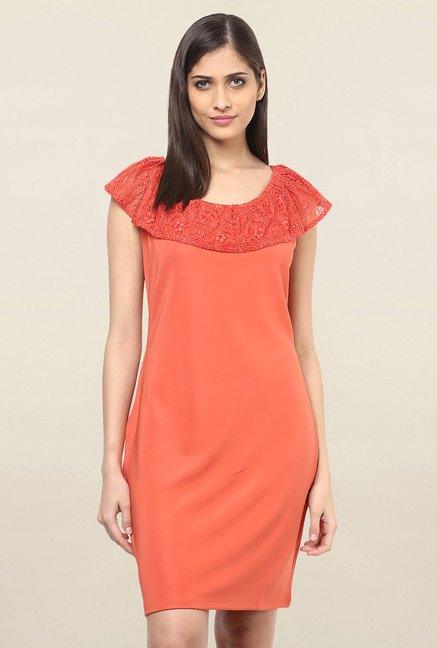 2dd3d38ad55a Buy 109 F Coral Lace Knee Length Dress for Women Online   Tata ...