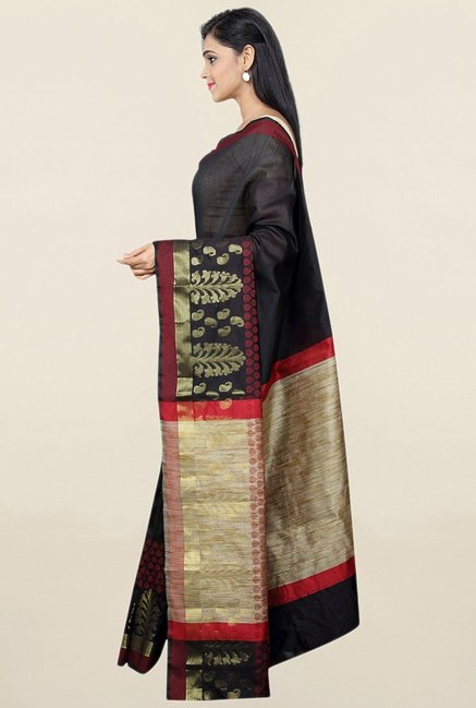 Pavecha's Black Cotton Silk Banarasi Saree With Blouse