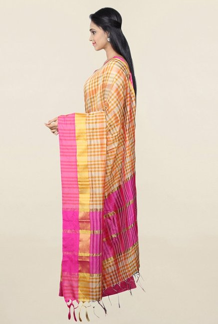 Pavecha's Orange Checks Cotton Silk Saree With Blouse