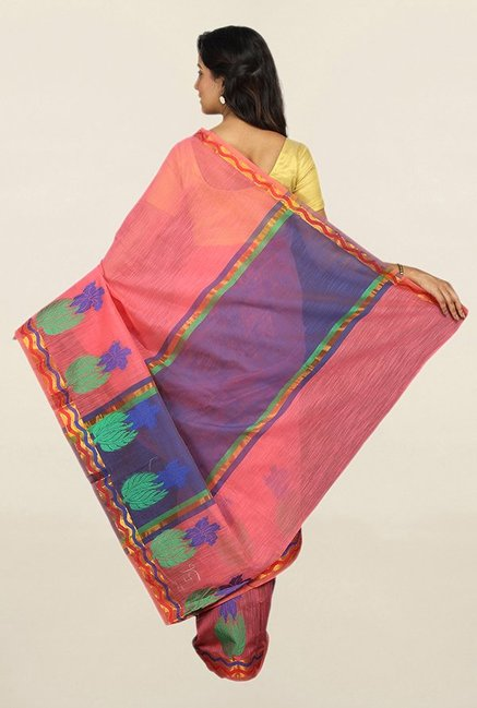 Pavecha's Pink Printed Cotton Silk Saree With Blouse
