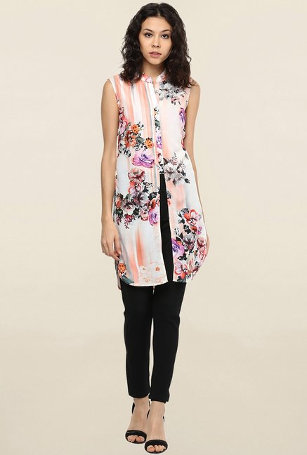 109 F Pink Floral Print Tunic