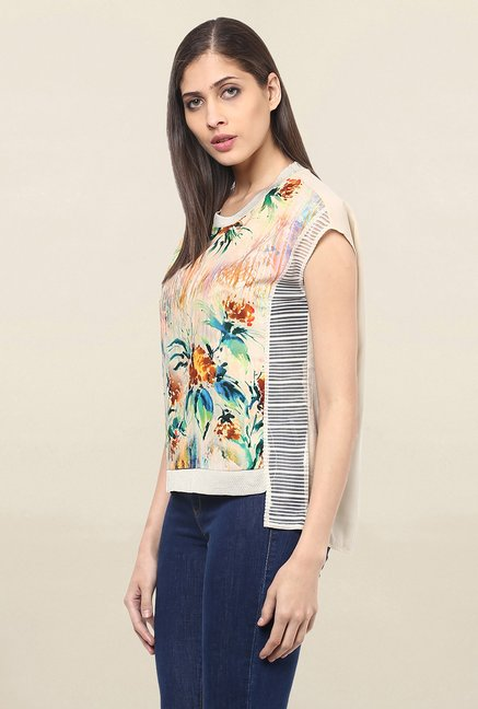 109 F off white Floral Print Top