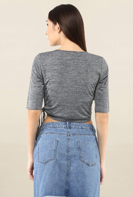 109 F Grey Textured Crop Top