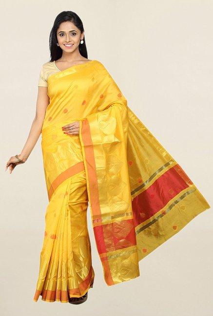 155510b7f7f5f Buy Pavecha s Yellow Cotton Silk Banarasi Saree With Blouse for Women  Online   Tata CLiQ