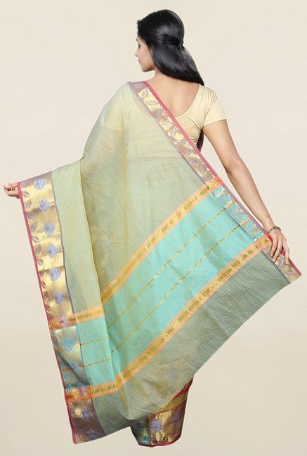 Pavecha's Green Cotton Silk Kota Doria Saree With Blouse