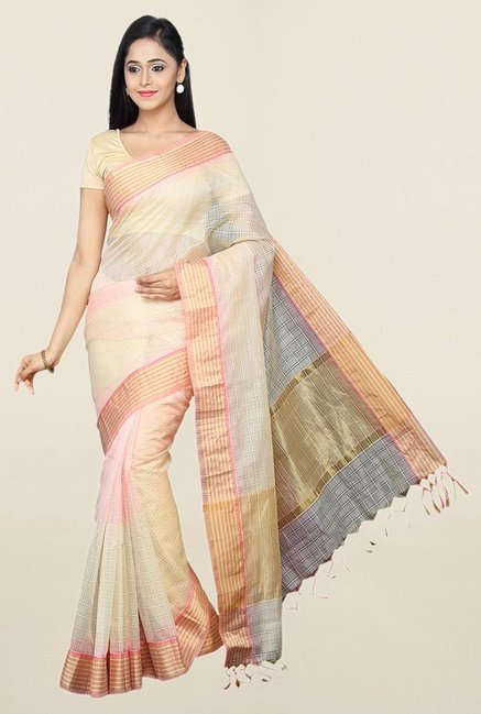 Pavecha's Beige Cotton Silk Kota Doria Saree With Blouse