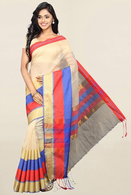 Pavecha's Beige Cotton Silk Banarasi Saree With Blouse