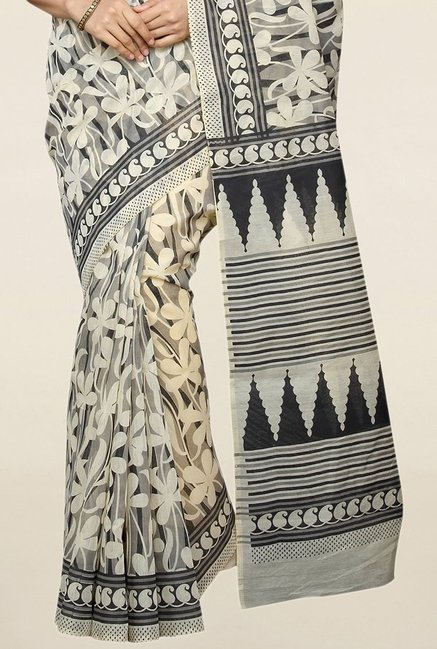 Pavecha's Beige & Black Printed Cotton Saree With Blouse