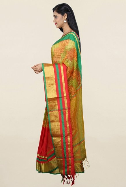 Pavecha's Red Cotton Silk Bollywood Saree With Blouse