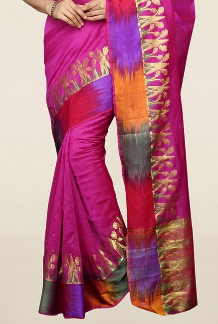 Pavecha's Purple Cotton Silk Banarasi Saree With Blouse