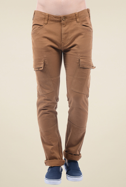 b1f4e4165 Buy Pepe Jeans Brown Slim Fit Cargo Pants for Men Online   Tata CLiQ