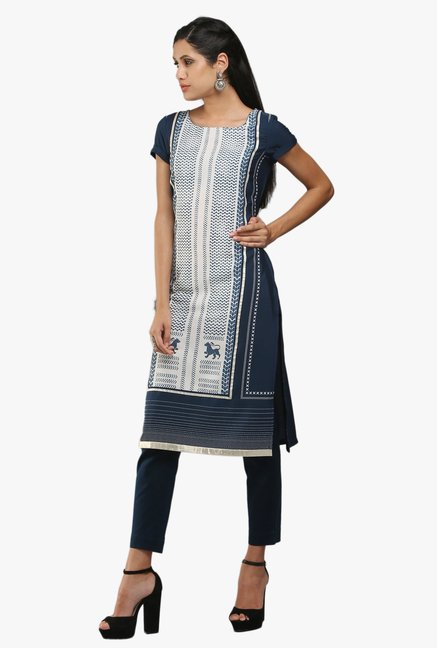 W Navy & White Printed Kurta
