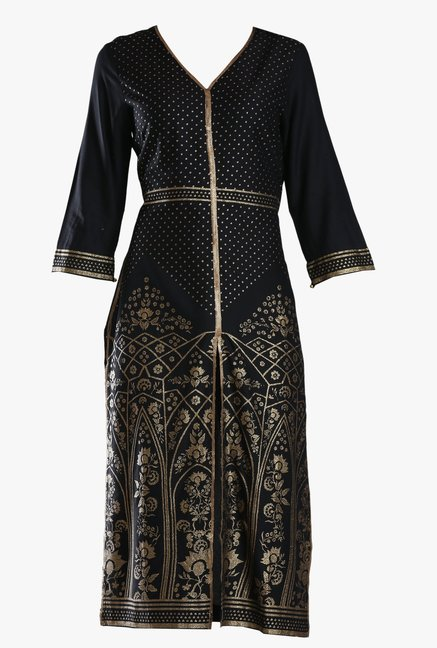 W Black Block Print Viscose Kurta