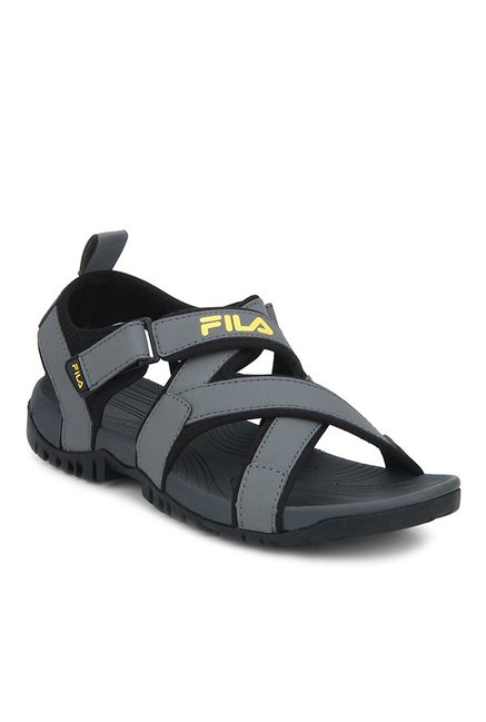 f440de4943 Buy Fila Pacific II Grey & Black Floater Sandals for Men at Best ...