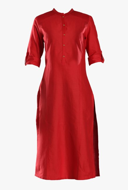 W Red Cotton Kurta