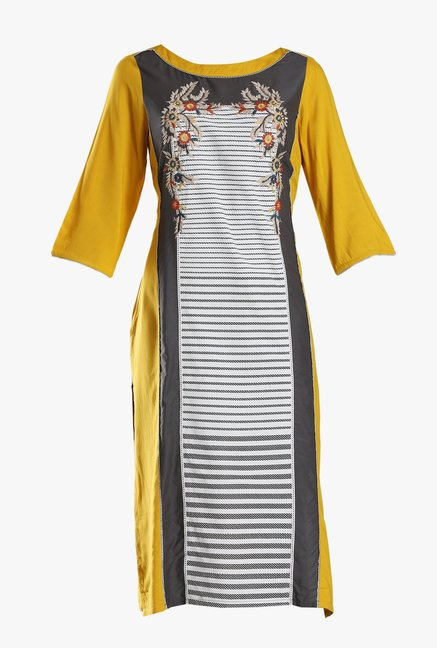 W White & Mustard Embroidered Viscose Kurta