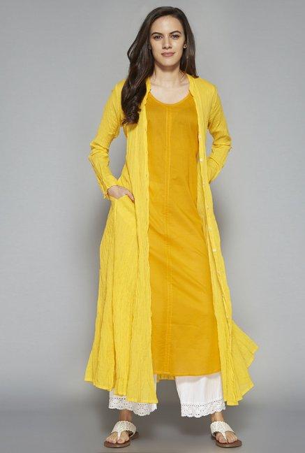 7ba0b21ff5e Buy Utsa by Westside Yellow Pure Cotton Kurta Set for Women Online   Tata  CLiQ