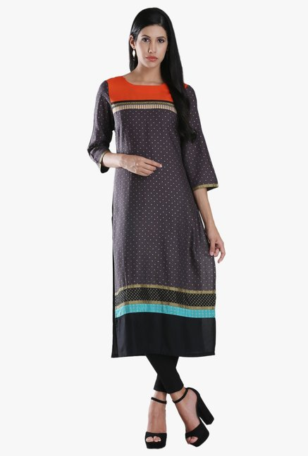 W Grey Block Print Viscose Kurta