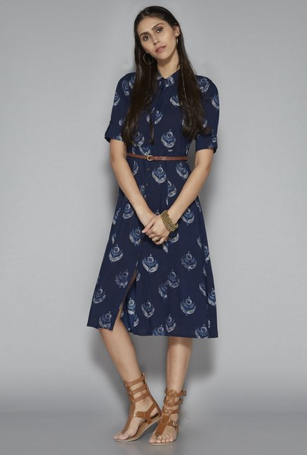 83839511ee Buy Bombay Paisley by Westside Dark Navy Dress with Belt for Women Online @  Tata CLiQ