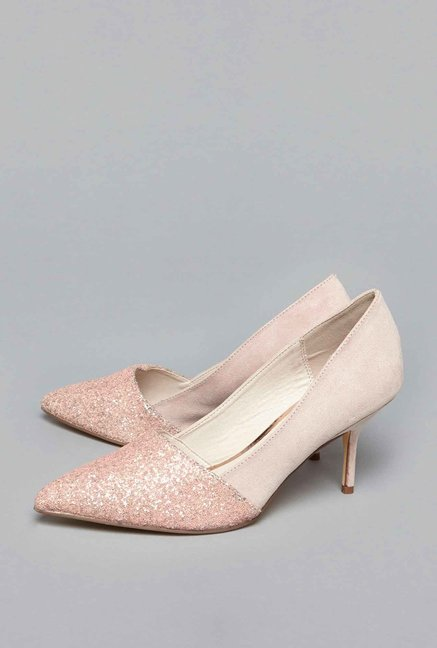 LUNA BLU by Westside Beige Glitter Court Shoes
