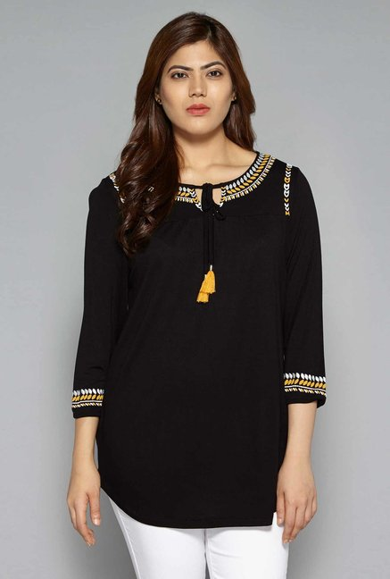 4773a2810 Buy Gia by Westside Black Top for Women Online   Tata CLiQ