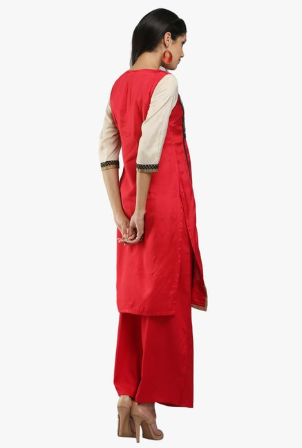 W Red Block Print Viscose Kurta