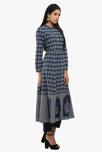 W Navy Printed Cotton Kurta