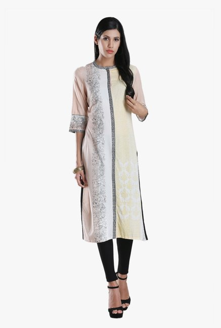 W Peach Printed Viscose Kurta