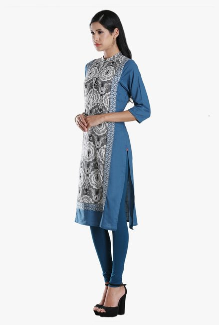 W Grey & Navy Block Print Cotton Kurta
