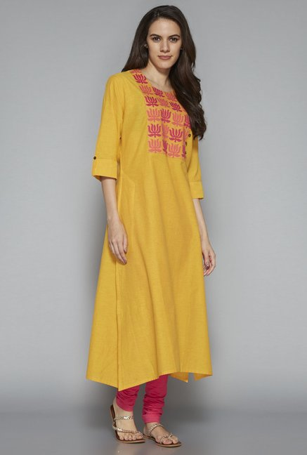 Utsa by Westside Yellow Pure Cotton Kurta