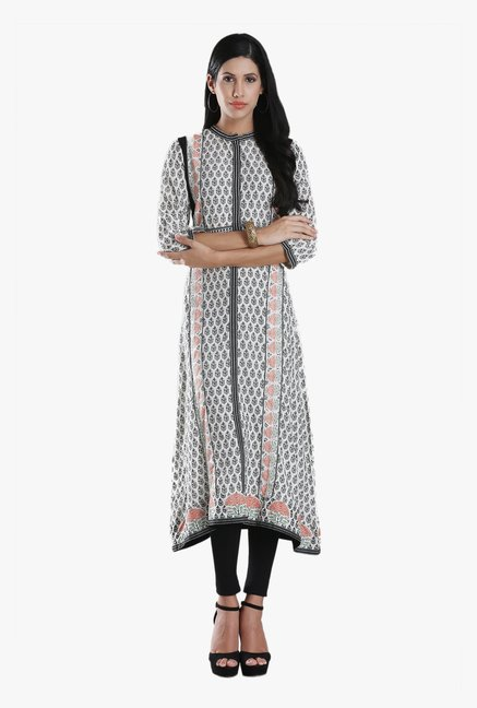 W White Block Print Viscose Kurta