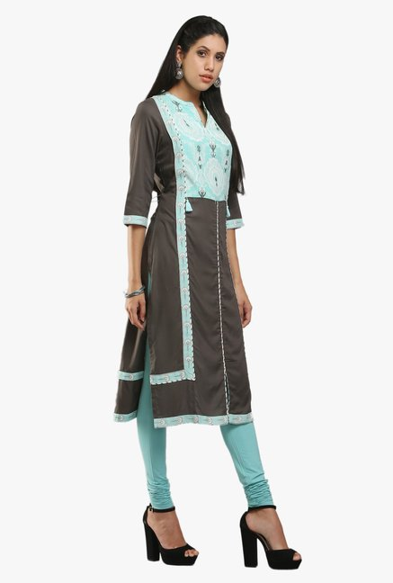 W Black & Blue Embroidered Cotton Kurta